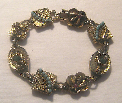 """Signed """" ART """" Vintage Antiqued Gold Tone Linked Bracelet With Snakes & Insects"""