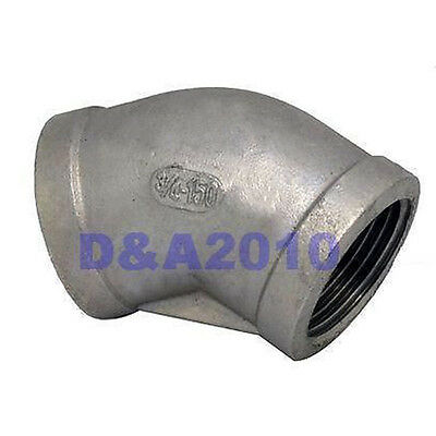 "45°Elbow 3/4"" Female Fitting 150# 304 Stainless Steel Pipe Biodiesel Degree BSP"