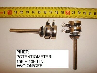 Potenciometro Carbon Piher Potentiometer.10K + 10K Lin S/i W/o On/off. P7