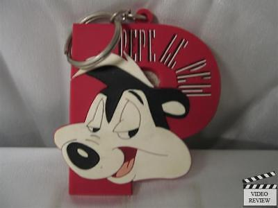 "Pepe Le Pew vinyl ""P"" keychain, Looney Tunes; Applause NEW"