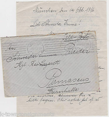 Wwi Germany Original Signed & Stamped Correspondence Letter & Mail Cover 1916