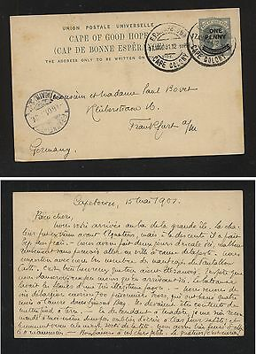 Cape of Good Hope  postal card to Germany  1901 revalued        MS0413