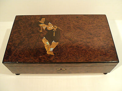 "Antique Thuya Burl Wood Box, Inlaid Marquetry ""Oriental Warrior"" Decoration"