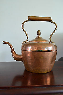 Antique Stamped Copper Kettle With  Brass Acorn Finial