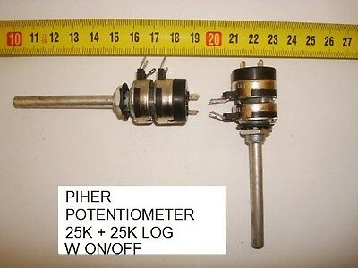 Potenciometro  Carbon Pihepotentiometer. 25K + 25K Log C/i W On Off. P7