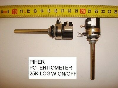 Potenciometro Carbon. Carbon Piher Potentiometer. 25K Log C/i W On/off. P21
