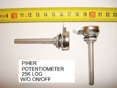 Potenciometro Carbon  Piher Potentiometer. 25K Log S/i W/o On/off. P16