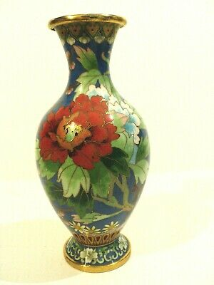 "Beautiful Vintage Chinese Cloisonne Enamel Floral Decorated 7"" Vase"