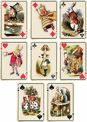 Vintage inspired Alice in Wonderland ivory playing cards tags ATC altered art 8