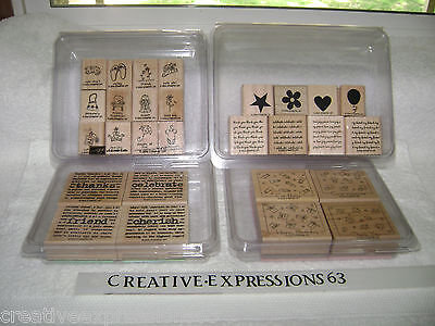 4 Sets Of Stampin' Up Rubber Stamps All In Very Good Condition & Complete Sets