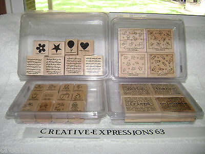 4 Sets Of Stampin' Up Rubber Stamps G/U Very Good Condition