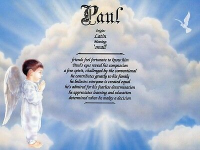 """Heavenly Boy"" Name Meaning Print Personalized (Nursery Decor, Child)"