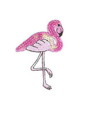 Flamingo - Bird -  Tropical - Embroidered/Sequin Iron On Applique Patch