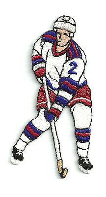 Sports - Hockey - Hockey Player Fully Embroidered  Iron On Patch