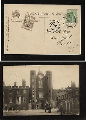 Great Britain nice post card to France , postage due stamp 1905        HC0419