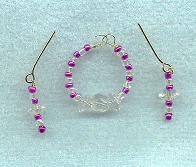 Barbie Doll Jewelry Iridescent Crystal & Hot Pink Pearl Necklace Set Linhill