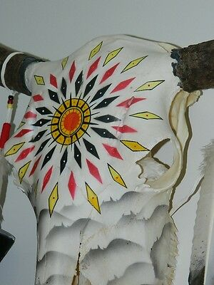 Quanah Parker Burgess Hand Painted Buffalo Skull