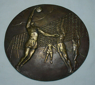 Very interesting old sport men's playing Volley ball bronze plate 27 cm
