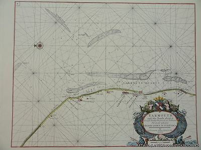 OLD COPY OF MAP MARINE CHART OF THE ENGLISH CHANNEL 1700/'S