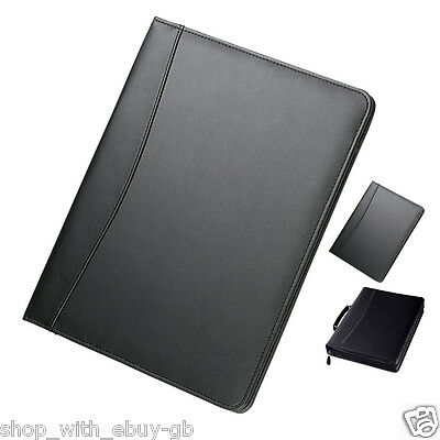 A4 Black Conference Folder - Business Executive Portfolio - Zipped / Ring Binder