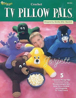 TV Pillow Pals, cuddly animal crochet patterns OOP rare