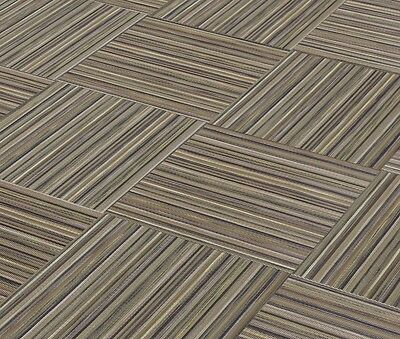 """CHILEWICH SMALL STRIPE TOBACCO Woven Vinyl Tiles 18"""" X 18"""" (No Adhesive Residue)"""