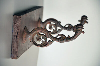 Vintage Wall Rack Victorian cast iron clothes hat coat hallway old teak Nouveau