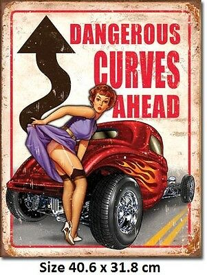 Legends Dangerous Curves Ahead Hotrod Tin Sign 1670 Twice the size of Chinese