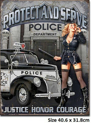 Police Dept 40's Ford Hot Rod Tin Metal Sign 1721 Post 2-12 signs $15 flat rate.