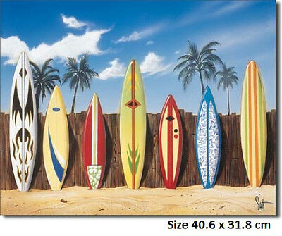 Surfboard Lineup Tin Metal Sign 1198 Post Disccounts 2-12 signs $15 flat rate.