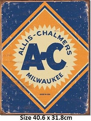 Allis Charmers Logo Rustic Tin Sign 1503  Post 2-12 signs $15 flat rate.