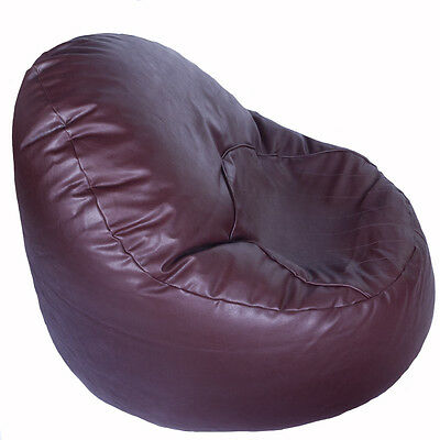Faux Leather Light Chocolate Brown Oval Chair Bean Bag with Filling