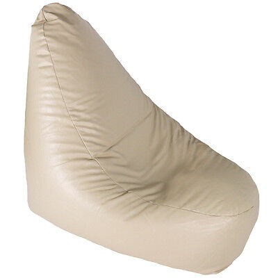 Faux Leather Light Natural Cream Large Banana Chair Bean Bag with Filling