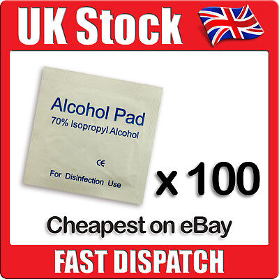 100 x 70% Isopropyl Alcohol Swabs Wipes Tattoo Piercing