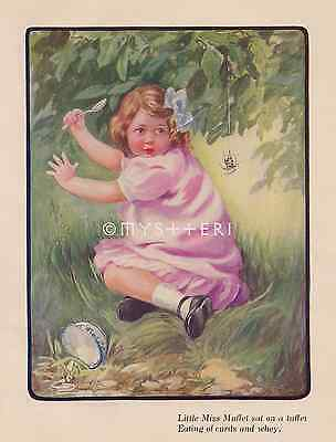 Little Miss Muffet-1908 ANTIQUE VINTAGE COLOR PRINT-Nursery Rhyme-Spider-Curds