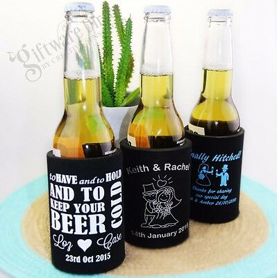 100 x Printed Stubby Holder Stubbie Cooler Wedding Bomboniere Favour Custom Can