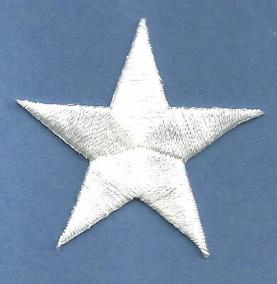 """( SET OF FOUR - 4 )  2 3/8"""" WHITE EMBROIDERED STARS IRON ON PATCHES"""