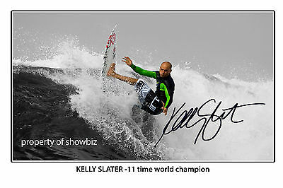 * KELLY SLATER * large signed poster of surfing star! great gift!