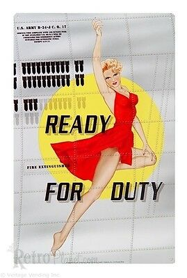 Bomber Nose Art Pinup- Ready For Duty Tin Sign 1 of 500+ Signs Rat Rod Hot Rod