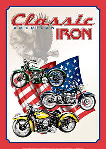 Harley Indian ? American  Classic Iron USA Flag Tin Metal Sign 1 of 500+ Signs