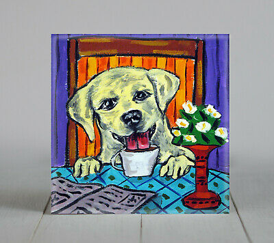 Yellow lab at the coffee shop dog art tile coaster gift