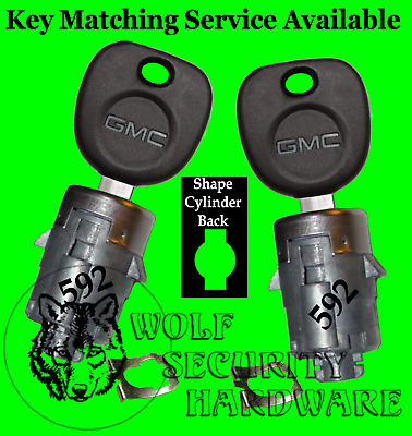 Cadillac Chevy GMC Others Door Lock Key Cylinder Pair 2 GM Keys 706592C