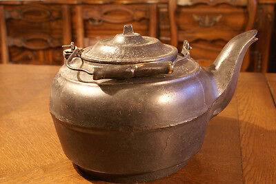 Antique Vintage Cast Iron Metal Kettle Hot Water Black Pot Primitive Wrought Big