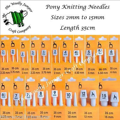 Pony Straight Knitting Needles - Length 35Cm - Various Sizes From 2Mm To 25Mm