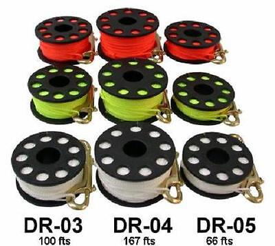 Red Hat Diving. 20metre finger reel with double inded boltsnap.white or yellow