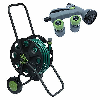 30M Complete Hose Reel Cart Trolley Set Garden Outdoor Plants Watering Hosepipe