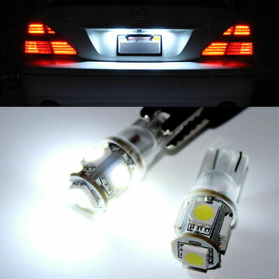 2 x HID White 360° 5-SMD 168 194 2825 LED Bulbs For License Plate Lights