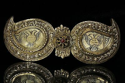 Antique Original Pearl Eagle Decorated Silver Ottoman Belt Buckle
