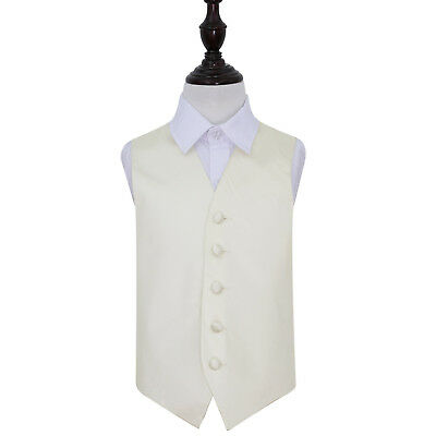 DQT Satin Plain Solid Ivory Page Boys Wedding Waistcoat 2-14 Years