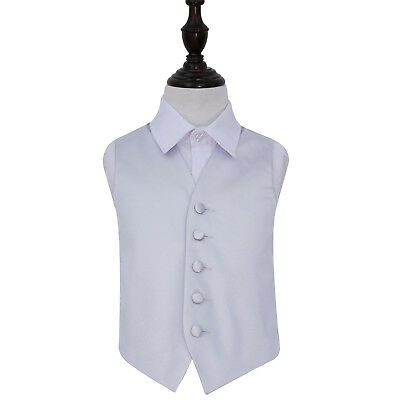DQT Satin Plain Solid Silver Page Boys Wedding Waistcoat 2-14 Years